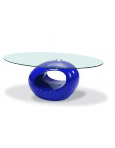 1 Table basse Plateau en verre trempé - Bleu laqué