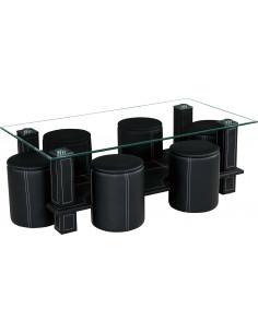 1 Table basse + 6 poufs SIXTY coloris noir