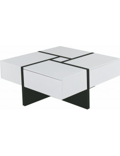 1 Table basse SKATY II - 4 tiroirs - MDF mat- Blanc