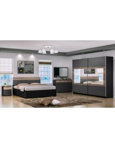 1 Chambre ? coucher HELINA -noir gris, ch?ne