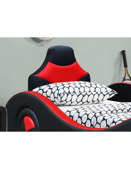 2 Lit enfant voiture Batcar avec rangement- 90x190 cm - Rouge