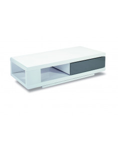 1 Table basse design en mdf coloris blanc laqué